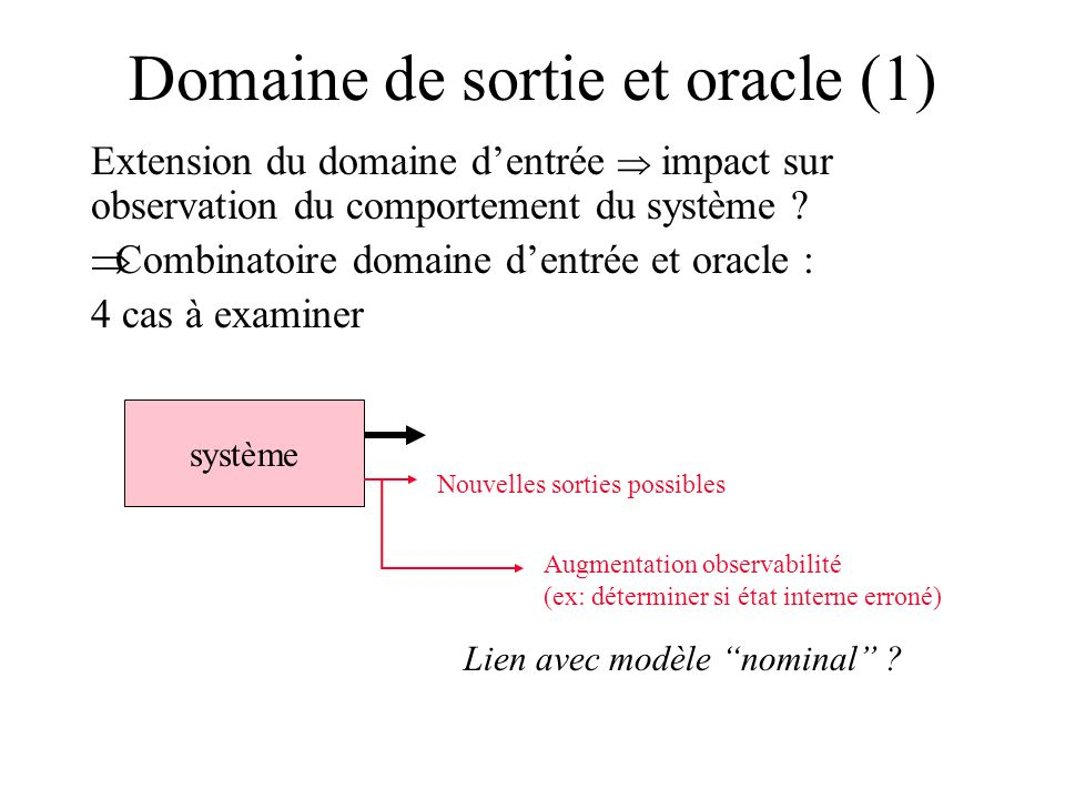 Domaine de sortie et oracle (1)