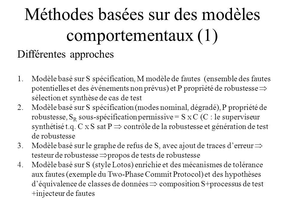 Méthodes basées sur des modèles comportementaux (1)