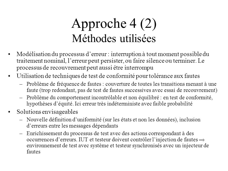Approche 4 (2) Méthodes utilisées