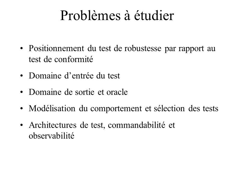 Problèmes à étudier Positionnement du test de robustesse par rapport au test de conformité. Domaine d'entrée du test.