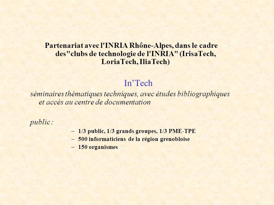 Partenariat avec l INRIA Rhône-Alpes, dans le cadre des clubs de technologie de l INRIA (IrisaTech, LoriaTech, IliaTech)