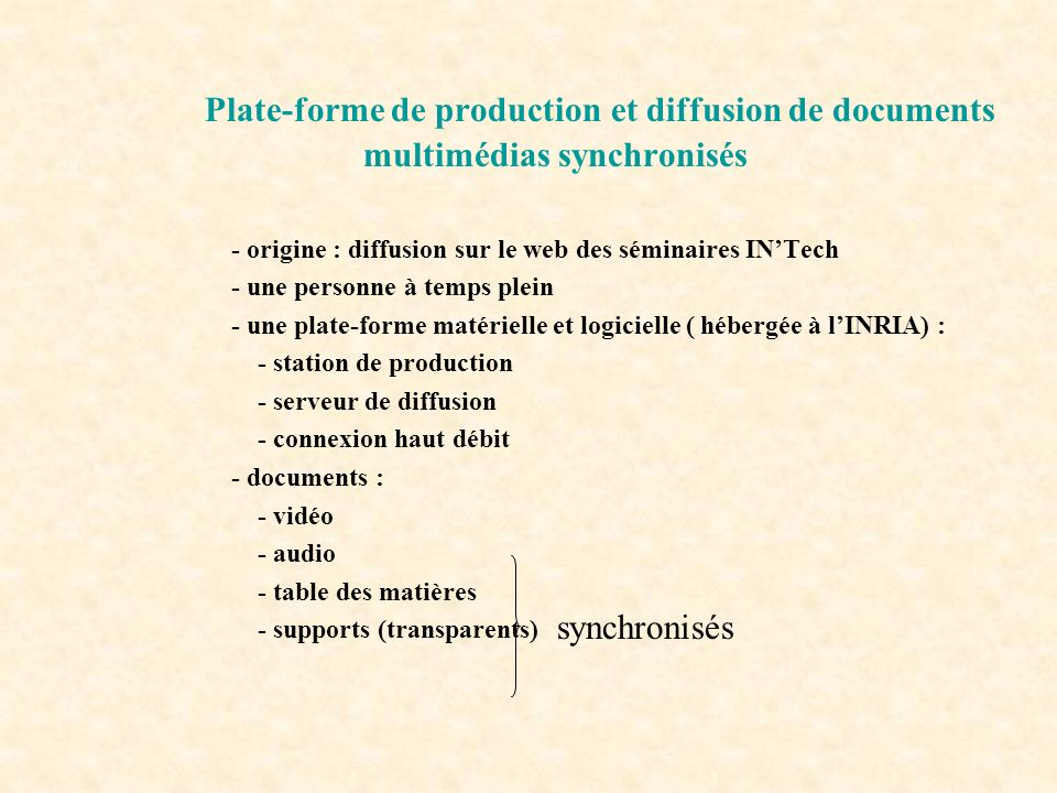 Plate-forme de production et diffusion de documents