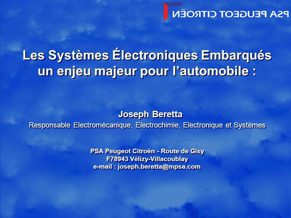 Les Systèmes Électroniques Embarqués un enjeu majeur pour l'automobile :