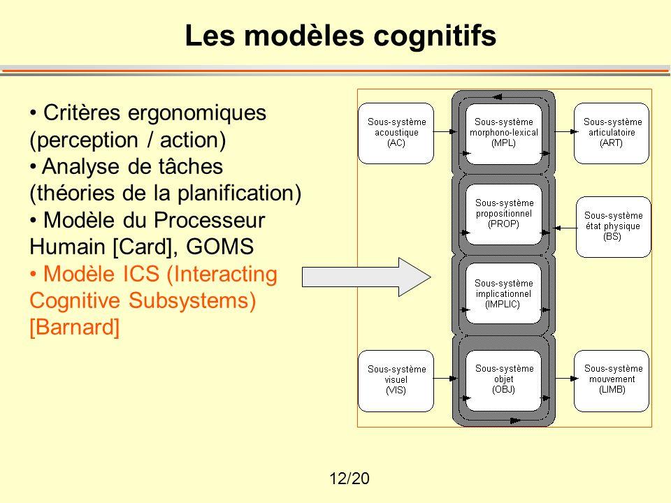 Les modèles cognitifs Critères ergonomiques (perception / action)
