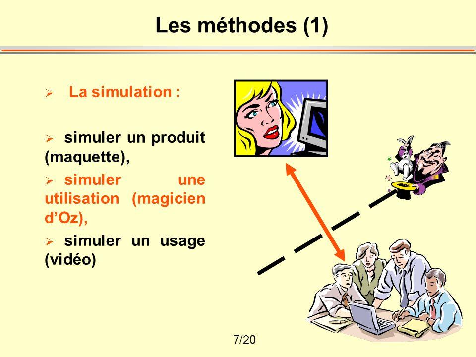 Les méthodes (1) La simulation : simuler un produit (maquette),