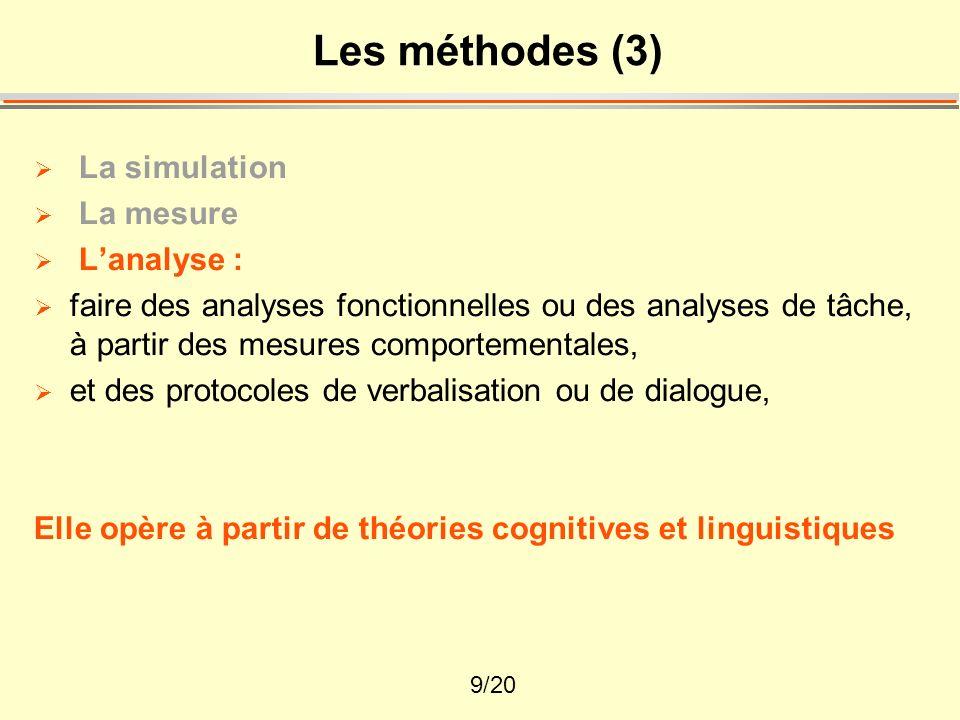 Les méthodes (3) La simulation La mesure L'analyse :