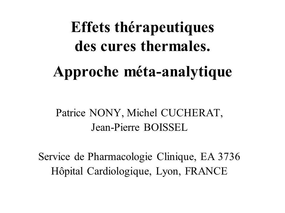 Effets thérapeutiques des cures thermales. Approche méta-analytique