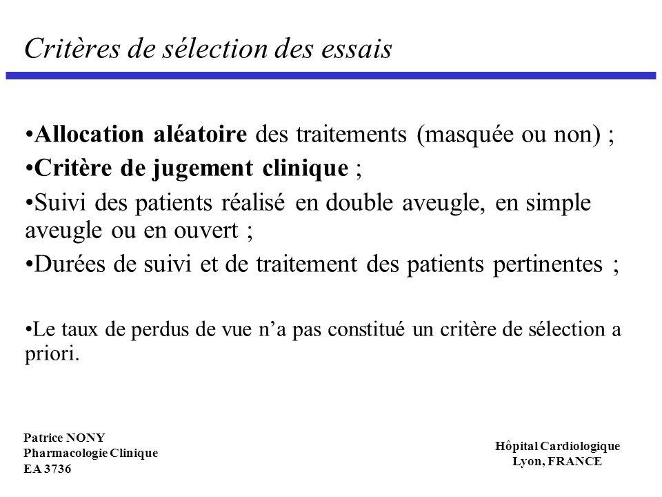 Critères de sélection des essais