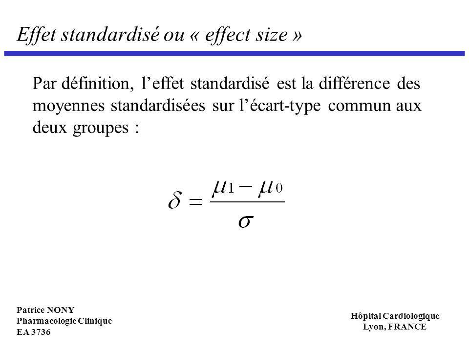 Effet standardisé ou « effect size »