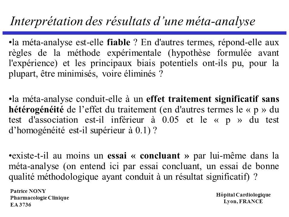 Interprétation des résultats d'une méta-analyse