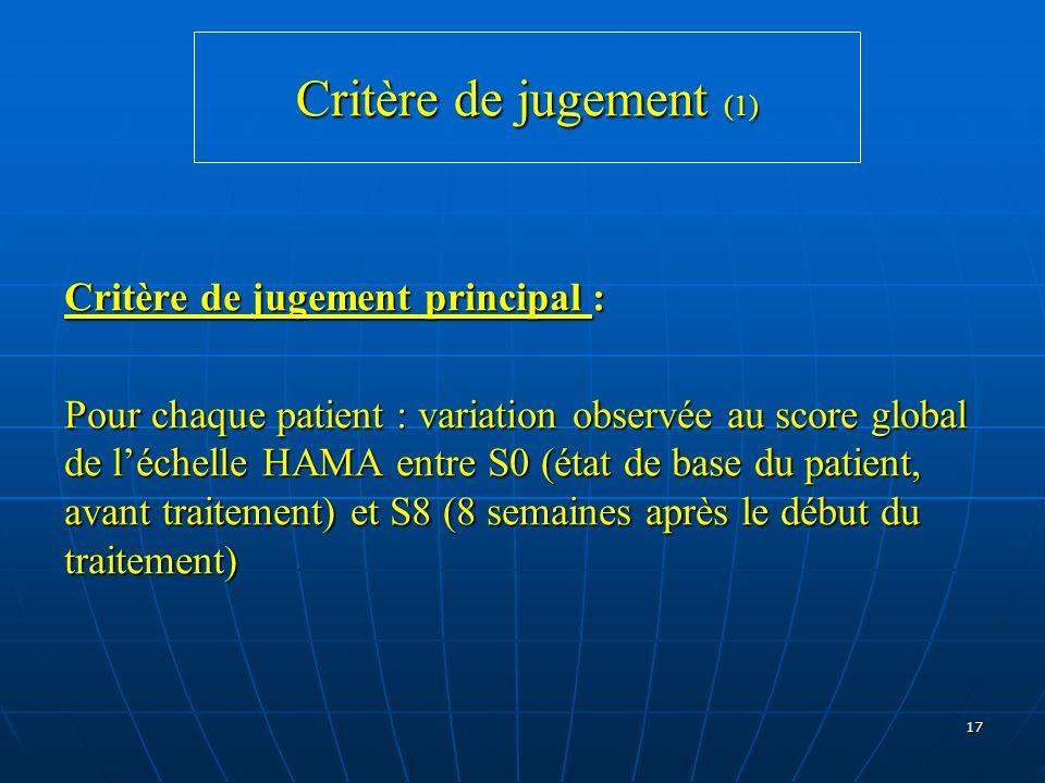 Critère de jugement (1) Critère de jugement principal :
