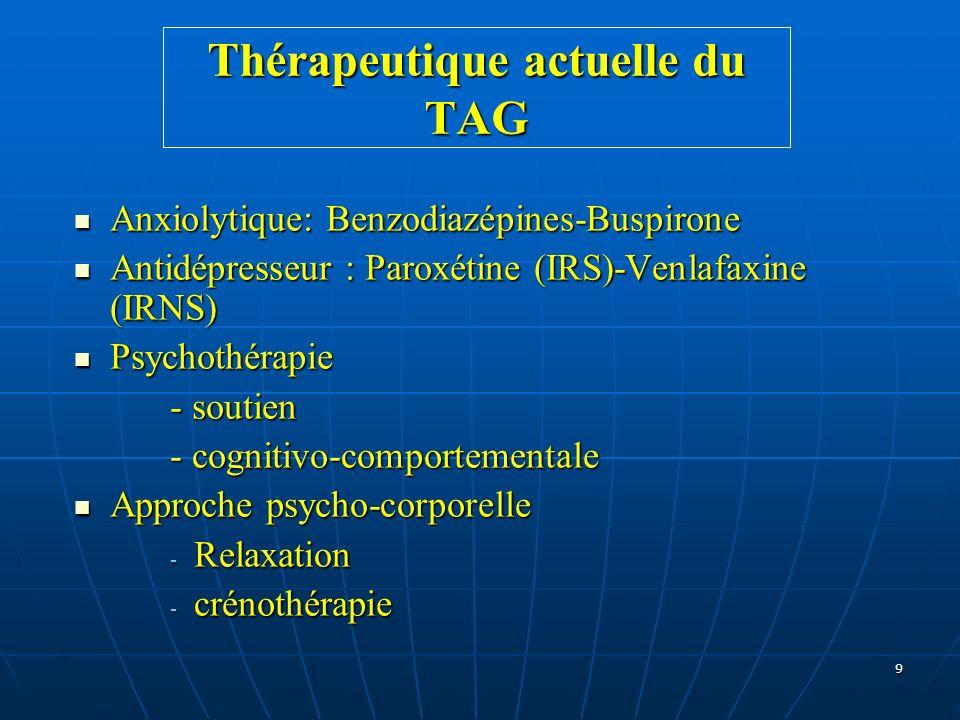 Thérapeutique actuelle du TAG
