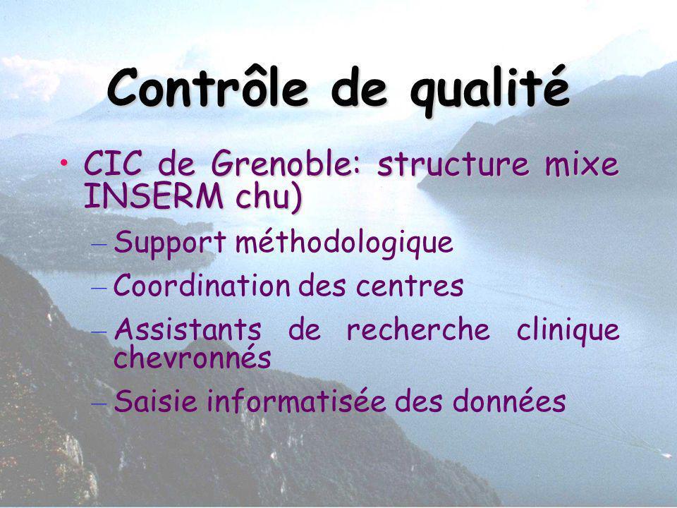 Contrôle de qualité CIC de Grenoble: structure mixe INSERM chu)
