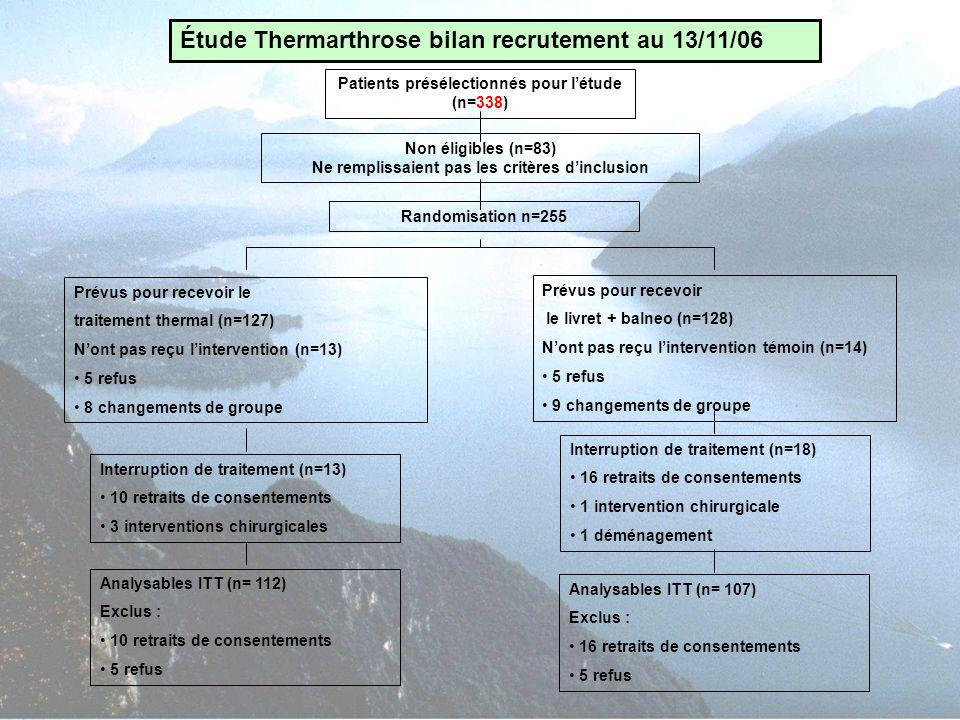 Étude Thermarthrose bilan recrutement au 13/11/06