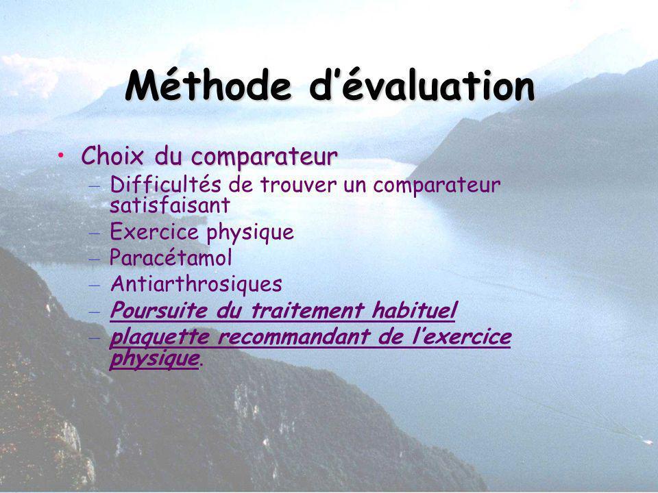 Méthode d'évaluation Choix du comparateur