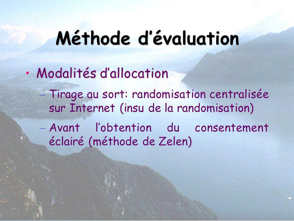Méthode d'évaluation Modalités d'allocation