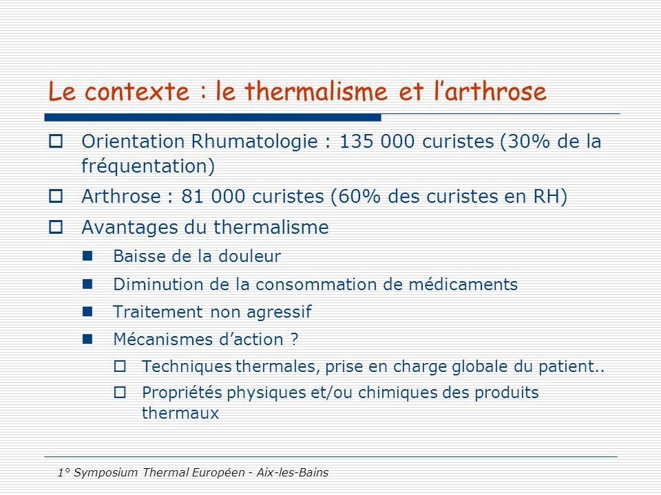 Le contexte : le thermalisme et l'arthrose