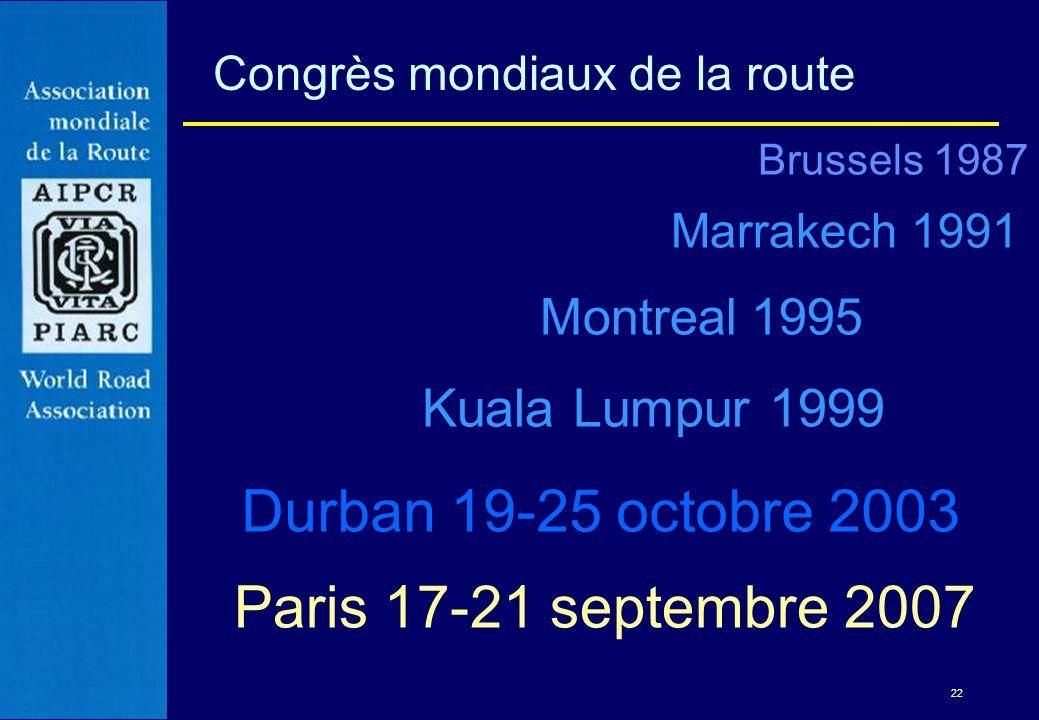 Brussels 1987 Marrakech 1991 Montreal 1995 Kuala Lumpur 1999