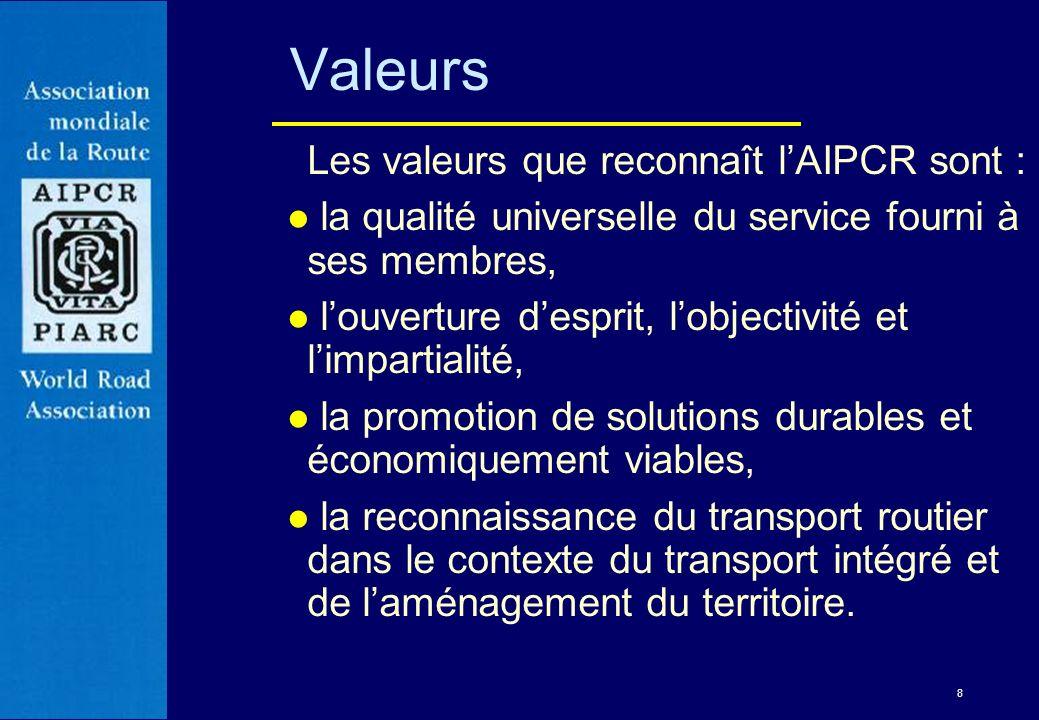 Valeurs Les valeurs que reconnaît l'AIPCR sont :