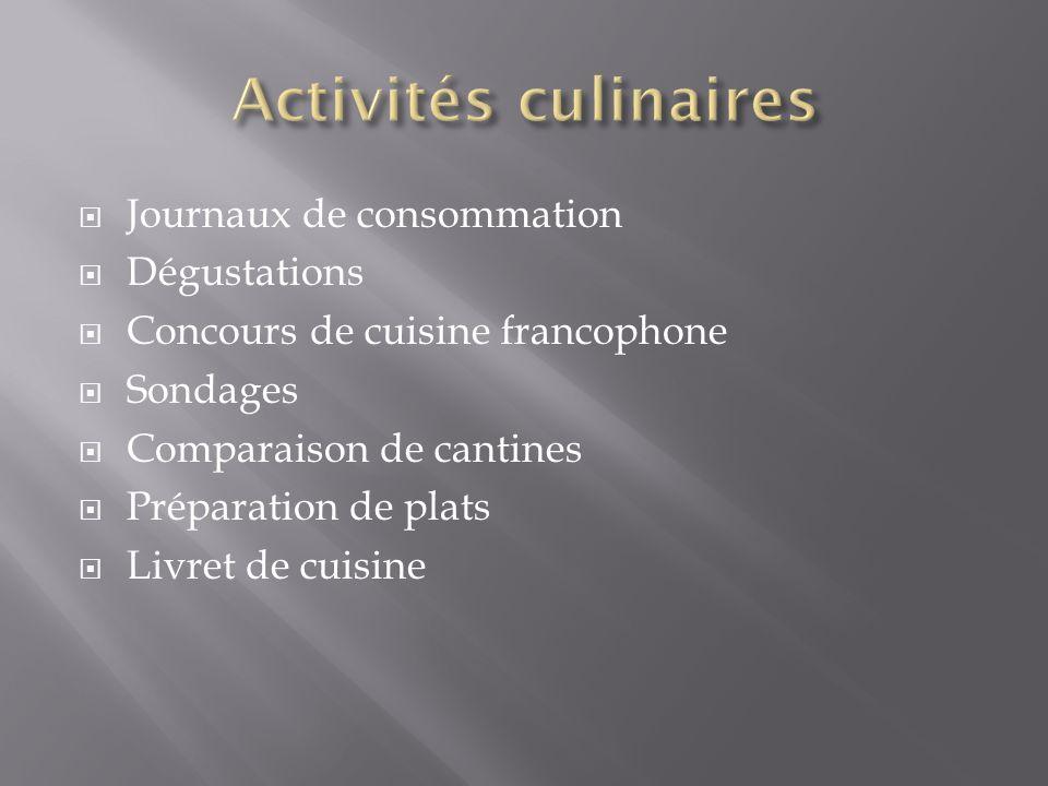 Activités culinaires Journaux de consommation Dégustations
