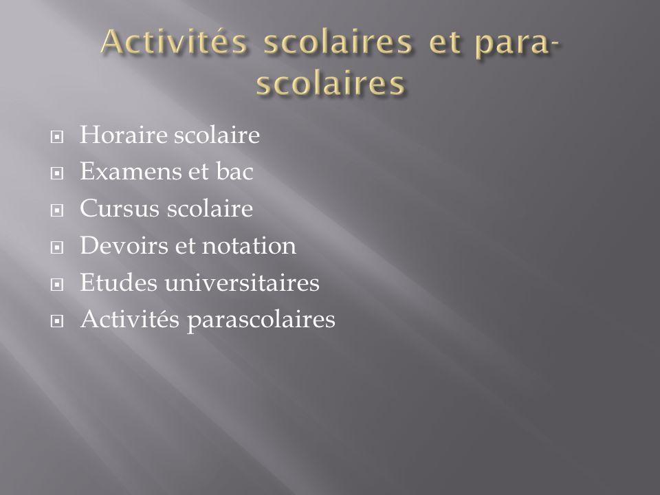 Activités scolaires et para-scolaires