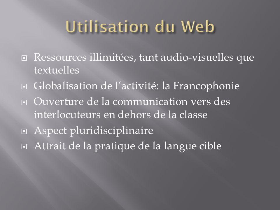 Utilisation du Web Ressources illimitées, tant audio-visuelles que textuelles. Globalisation de l'activité: la Francophonie.
