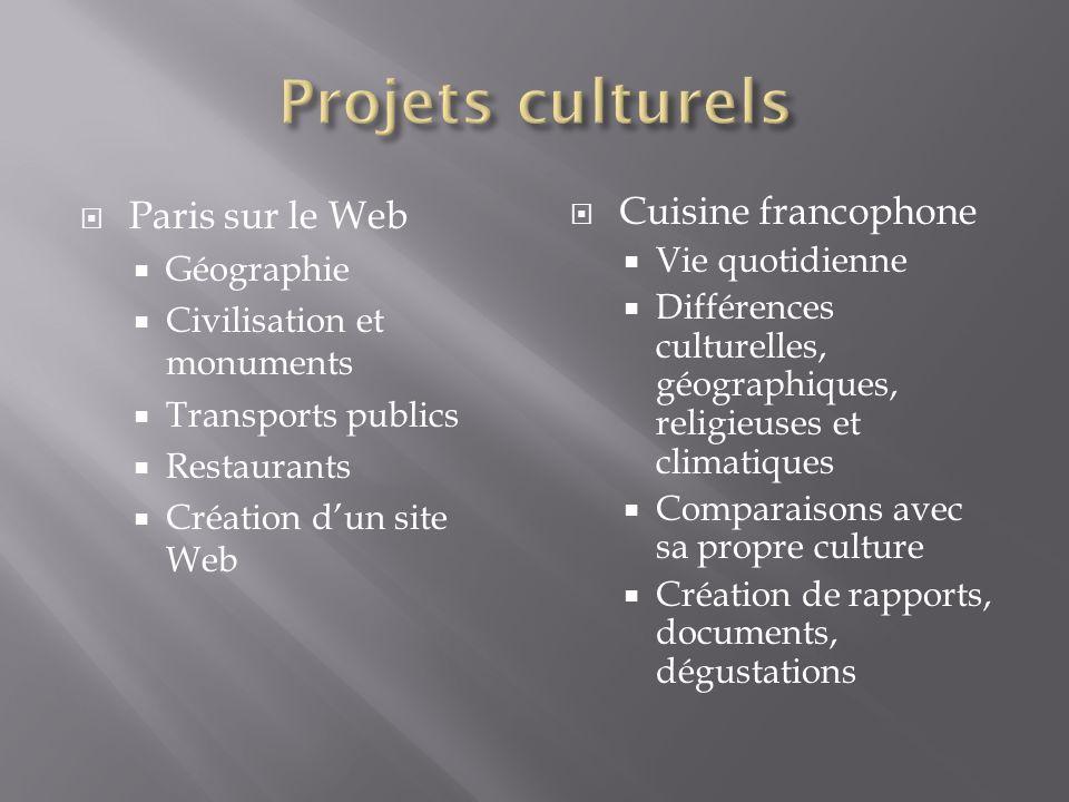 Projets culturels Paris sur le Web Cuisine francophone Géographie