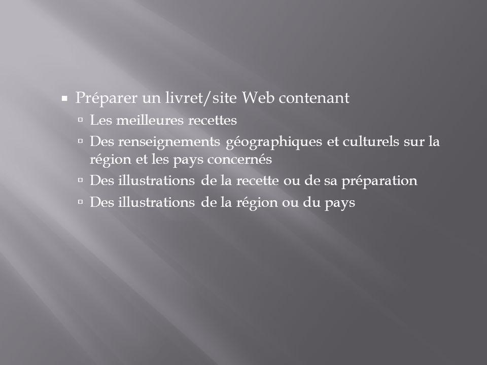 Préparer un livret/site Web contenant