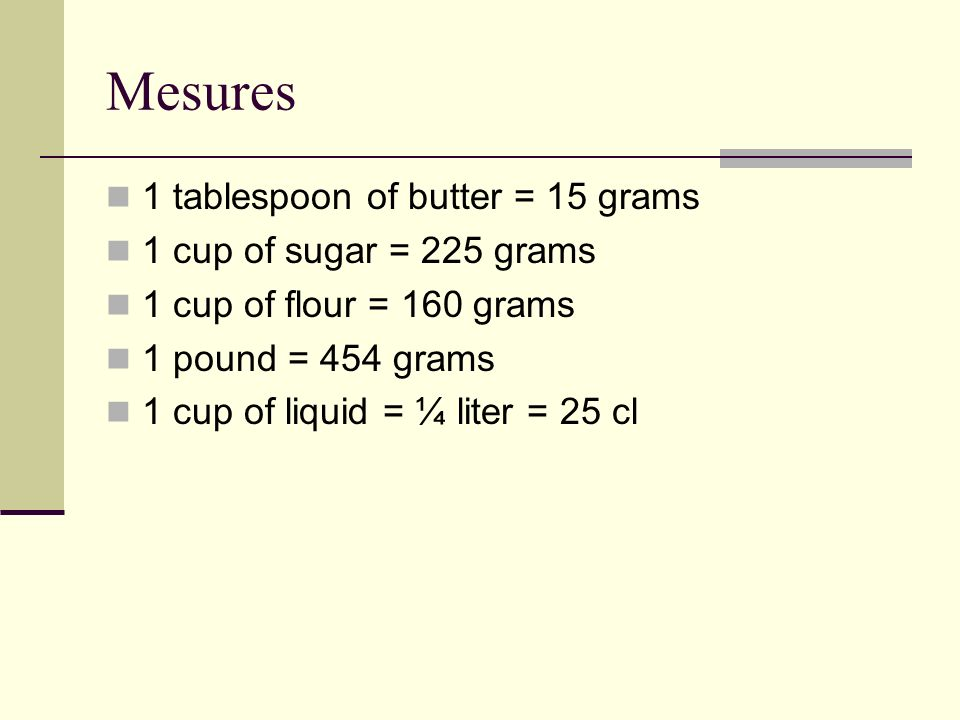 Mesures 1 tablespoon of butter = 15 grams 1 cup of sugar = 225 grams