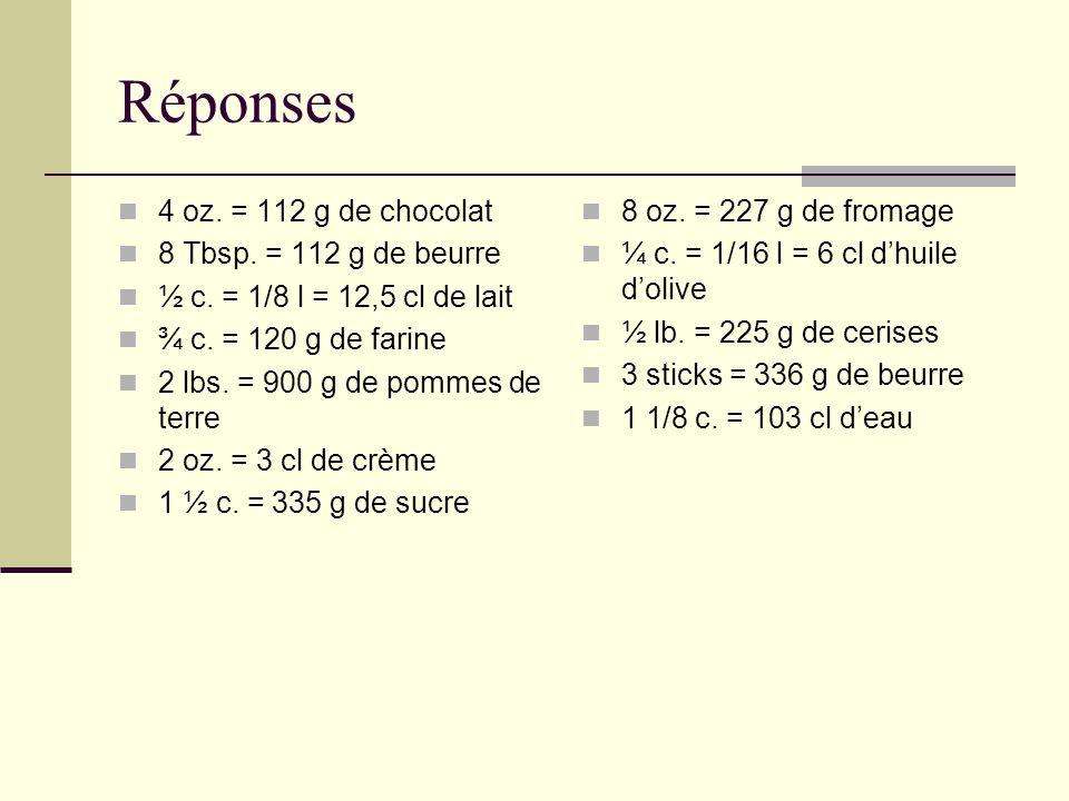 Réponses 4 oz. = 112 g de chocolat 8 Tbsp. = 112 g de beurre