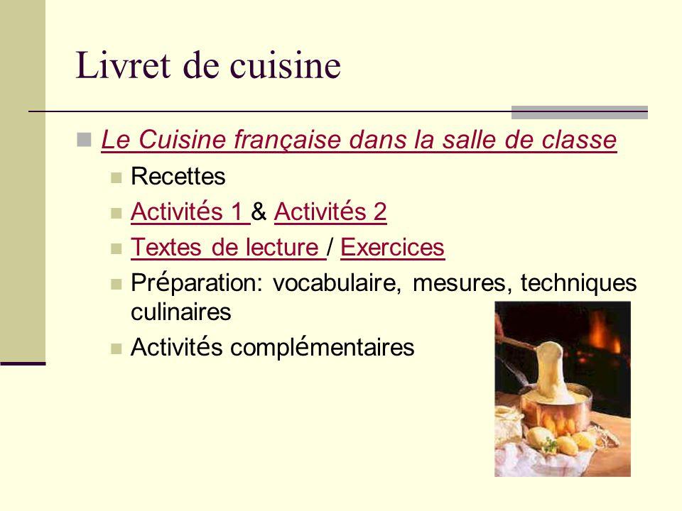 Livret de cuisine Le Cuisine française dans la salle de classe