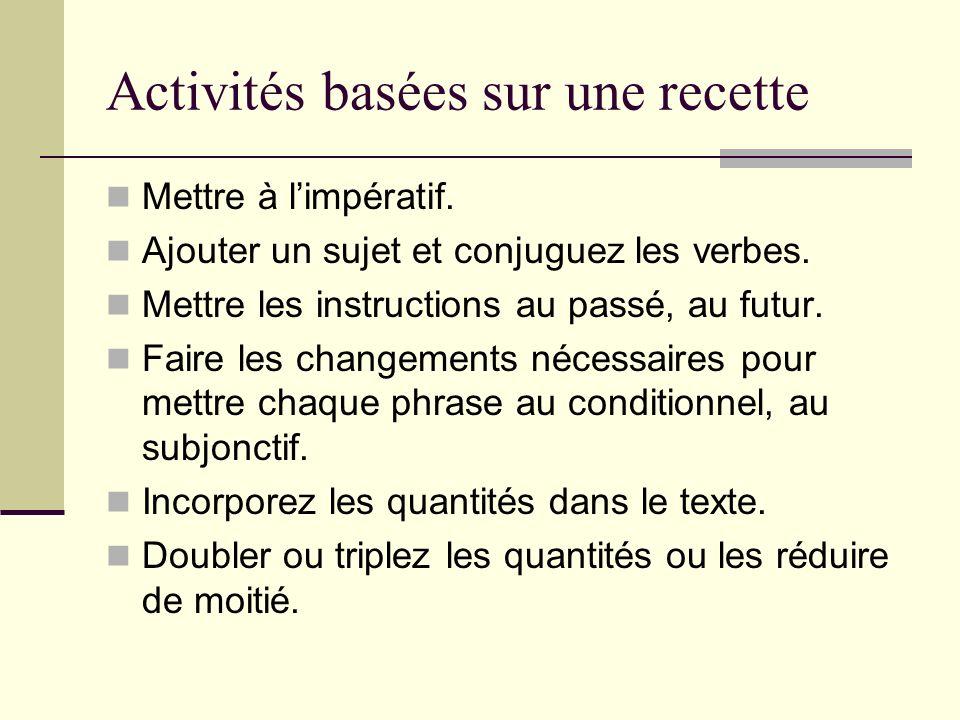 Activités basées sur une recette