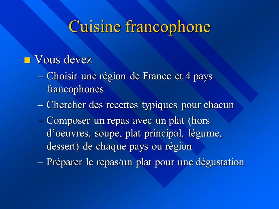 Cuisine francophone Vous devez