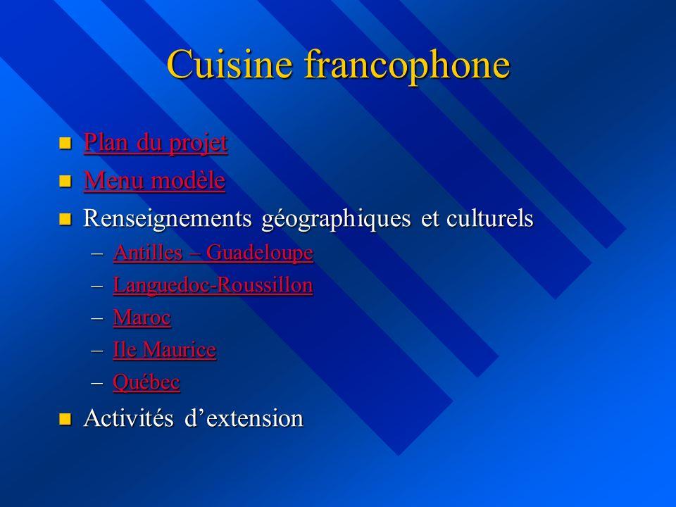 Cuisine francophone Plan du projet Menu modèle