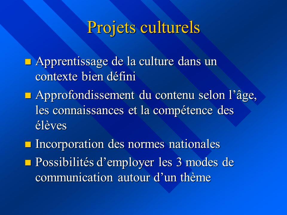 Projets culturels Apprentissage de la culture dans un contexte bien défini.