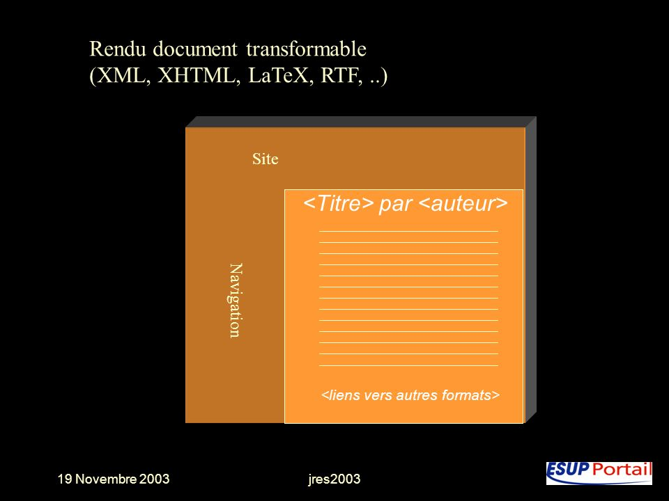 Rendu document transformable (XML, XHTML, LaTeX, RTF, ..)