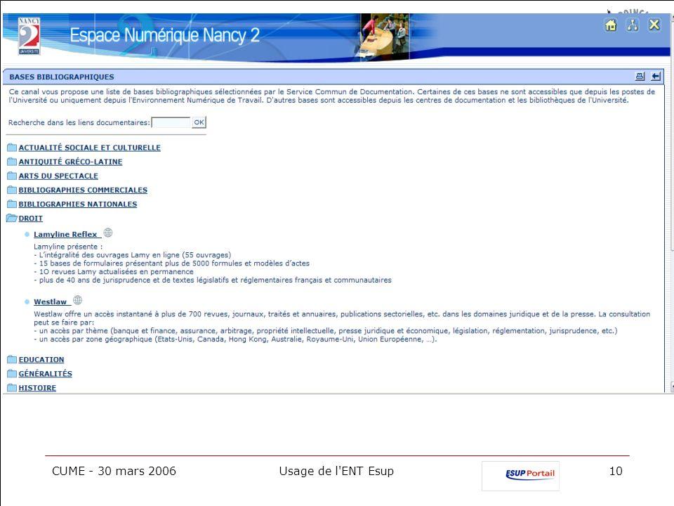 CUME - 30 mars 2006 Usage de l ENT Esup