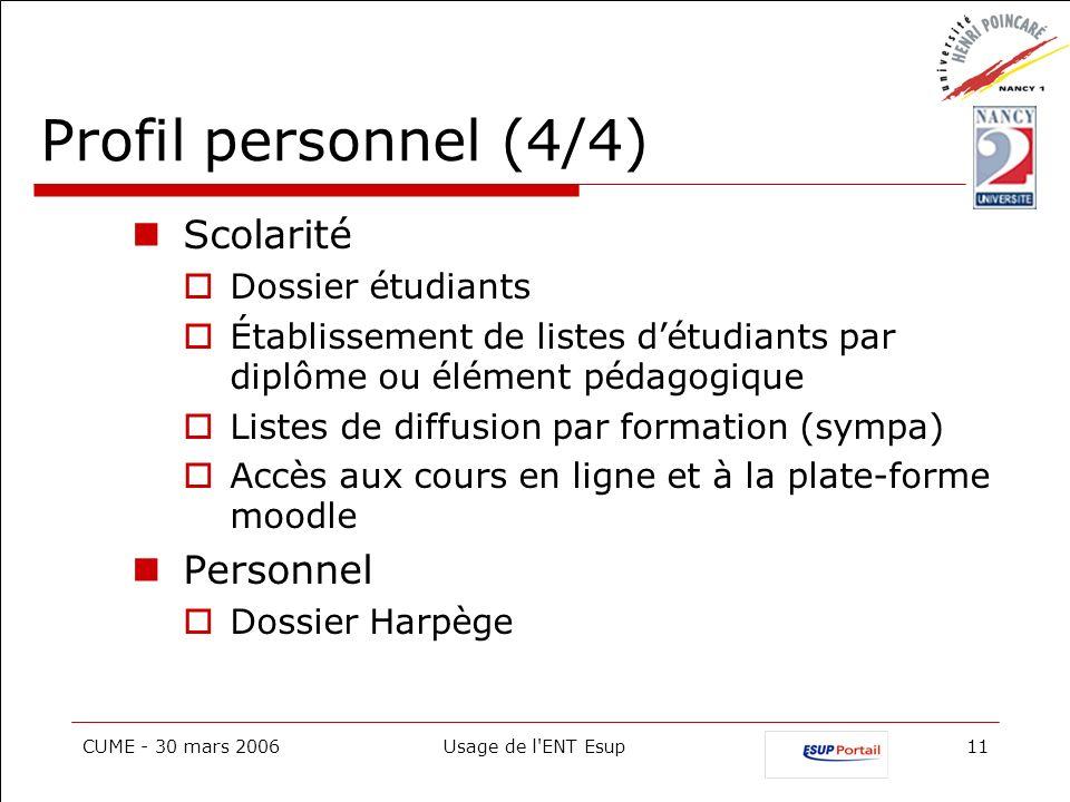 Profil personnel (4/4) Scolarité Personnel Dossier étudiants