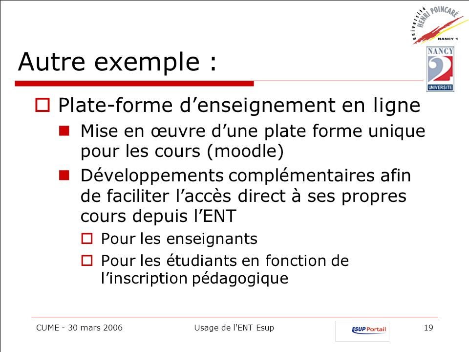 Autre exemple : Plate-forme d'enseignement en ligne