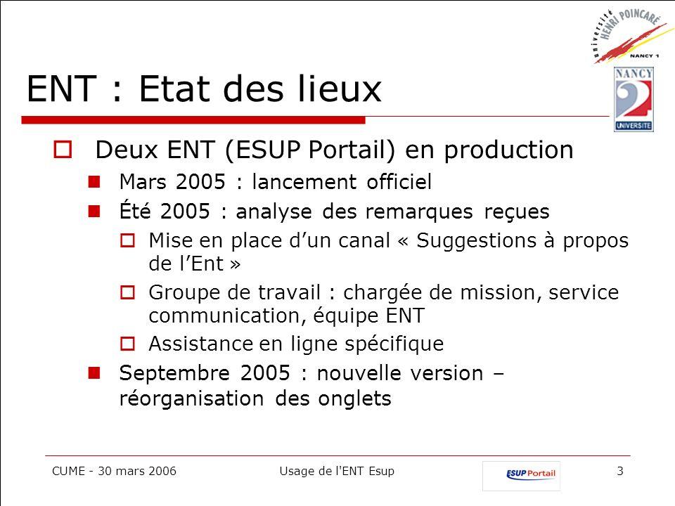 ENT : Etat des lieux Deux ENT (ESUP Portail) en production