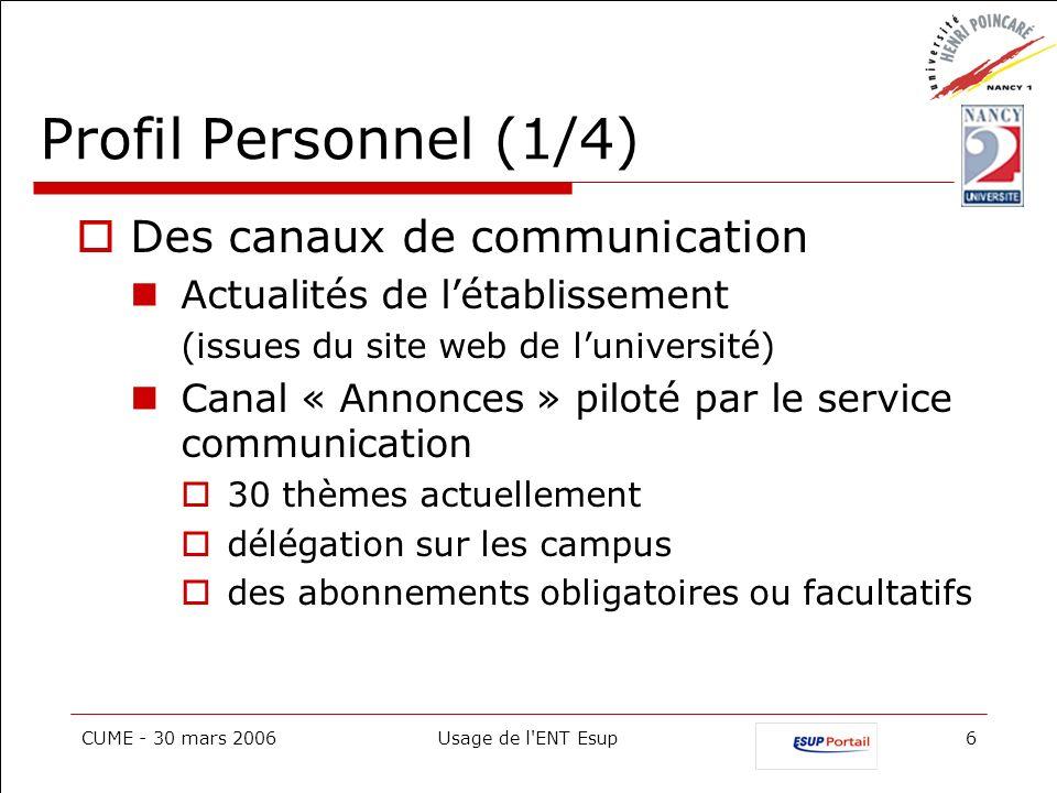 Profil Personnel (1/4) Des canaux de communication