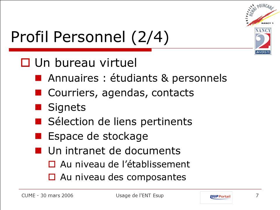 Profil Personnel (2/4) Un bureau virtuel