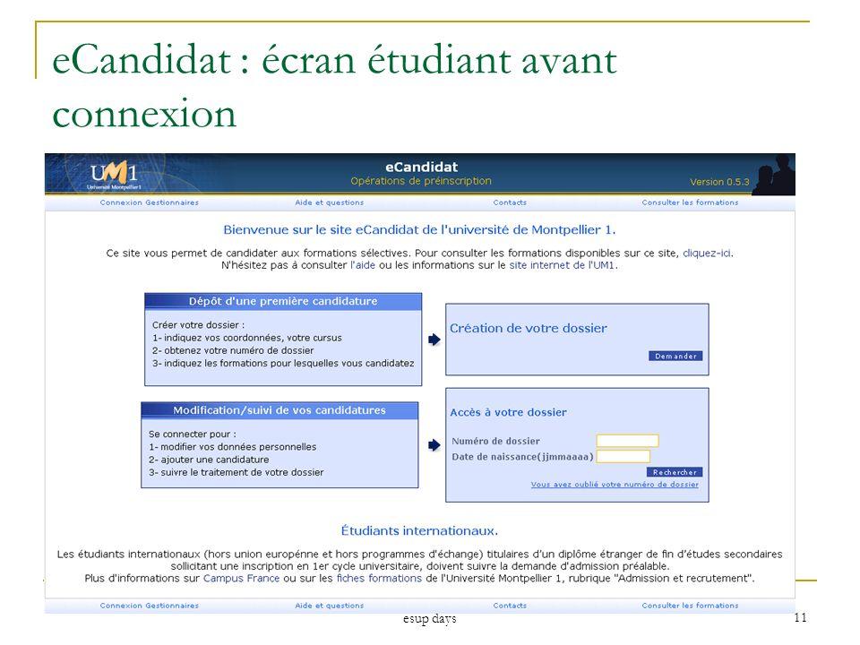 eCandidat : écran étudiant avant connexion