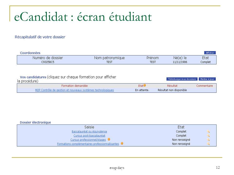 eCandidat : écran étudiant
