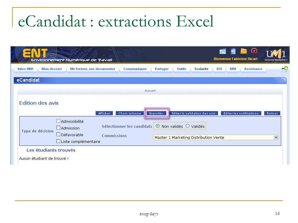 eCandidat : extractions Excel