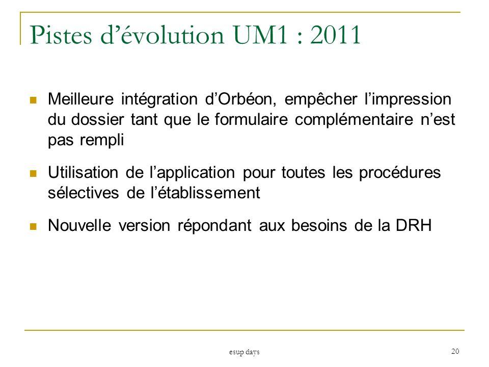 Pistes d'évolution UM1 : 2011