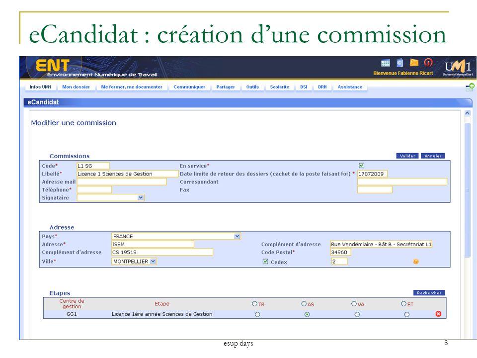 eCandidat : création d'une commission