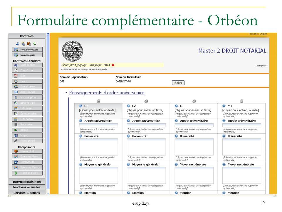 Formulaire complémentaire - Orbéon