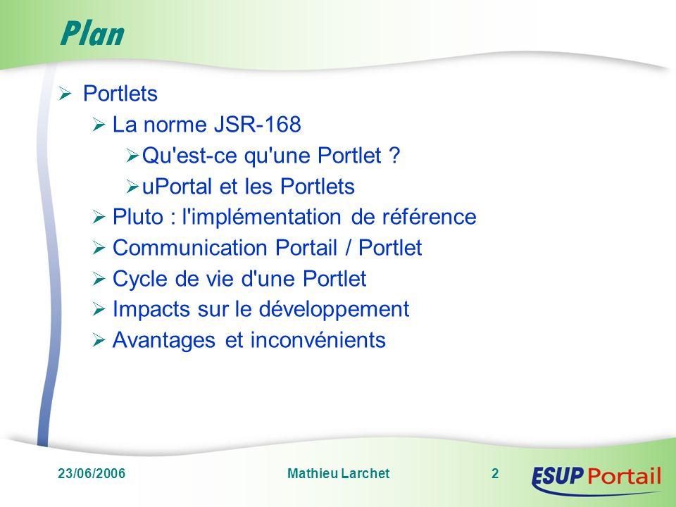 Plan Portlets La norme JSR-168 Qu est-ce qu une Portlet