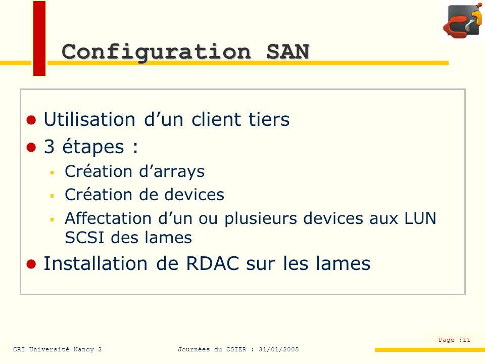 Configuration SAN Utilisation d'un client tiers 3 étapes :